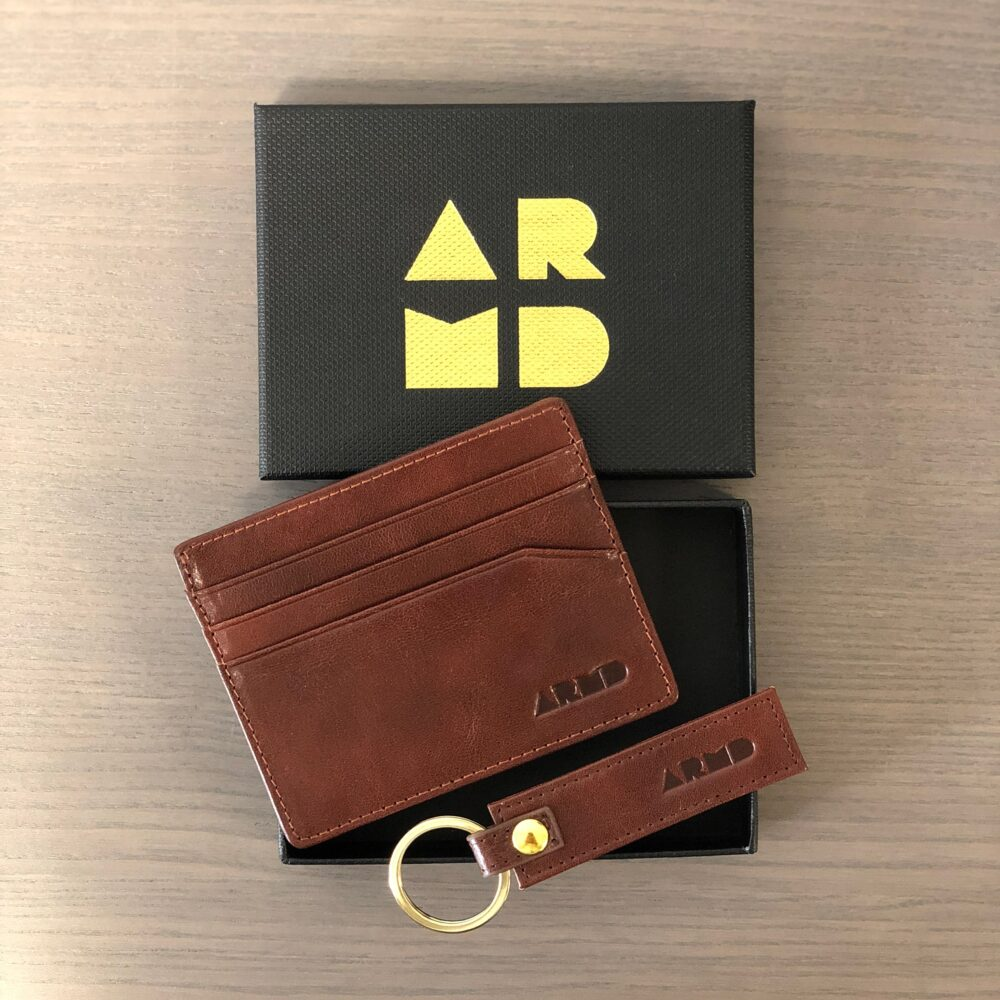 Italian leather card holder brown